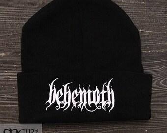 Knit Hat Behemoth logo black metal band Beanie.