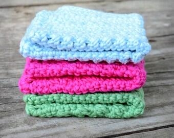 Washcloth handmade, set of three, crochet spa cloths, baby blue, pink and green, hemp wash cloths, eco friendly scrub, kitchen dishcloths