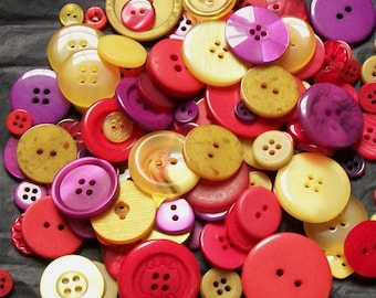 100 Buttons  HARVEST MIX, Yellow Red Purple Assorted sizes, Sewing,Crafting, Jewelry,  Collect (1044)