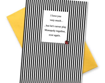 Funny birthday card cakey mccakeface greetings cards lets never play monopoly funny anti valentines card alternative valentine greetings cards board bookmarktalkfo Choice Image