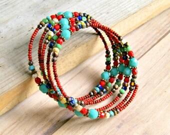 rainbow bracelet, boho jewelry, wrap bracelet, czech glass jewelry, gift for her, rainbow jewelry