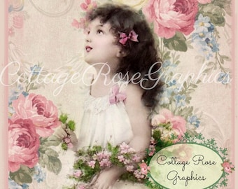 Pink Rose Dreams digital download Stinson Vintage wallpaper ephemera single image ECS buy 3 get one free