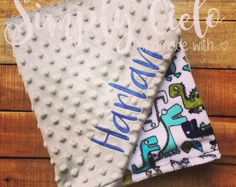 Dinosaur Roar! Cuddle® & Grey Personalized double Minky  Baby Blanket| Name Blanket | Baby Blanket | Embroidered Blanket