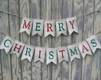 Merry Christmas Burlap Banner, Merry Christmas Bunting, Christmas Decor, Holiday Decor, Burlap Banner, Burlap Bunting, Christmas Garland