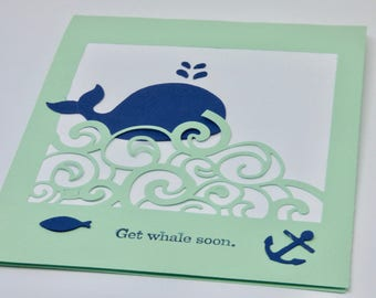 Get Whale Soon Card, Get Well Soon Card, Encouragement, Silly, Cute, Nautical Card, Quirky, Pun, Humorous Get Well Card, for Friend, Partner