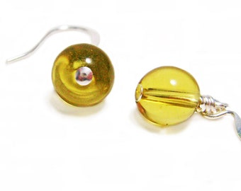 Drops of Gold - Wire Wrapped Glass Earrings