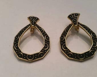 Vintage Black Gold HInged Earrings Costume Jewelry