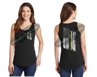 Tattered American Flag Thin Gold Line Women's Tank Top -  Dispatchers
