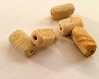 Cream and Tan puffed rectangle beads, marbled swirl glass beads, long beads, DIY jewelry beads, Craft supply, neutral bead