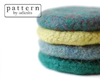 Felted Wool Coaster Crochet Pattern with Felting Directions, Digital PDF Download File