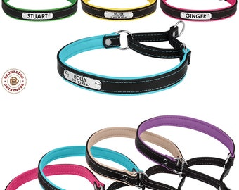 Martingale Dog Collar Personalized Leather Choke Collars for Dogs Padded Puppy Engraved Custom Small Medium Large Pink Blue Red Purple Beige