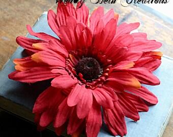 Jumbo Red Daisy - Vegan Friendly - ATS or Tribal Fusion Belly Dance Hair Art Fascinator Clip