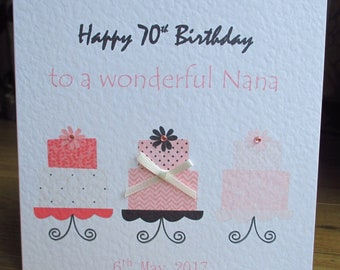 Personalised Row of Cakes Birthday Card Any Relation any Text