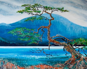 Tsawout Douglas fir. 24 x 36 acrylic on canvas. Original painting.