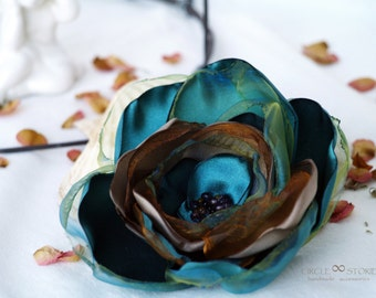 Turquoise and brown Flower brooch Large millinery flower Blue Silk flower Hair clip Flower gift Gift for mother Teal brooch Teal hair piece