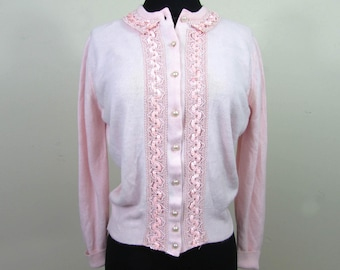 Pink Cardigan Sweater sequin trim by Shelburne -  1950s-60s - S-M