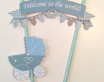 Personalised Baby Shower Cake Topper/ First Birthday Cake Topper