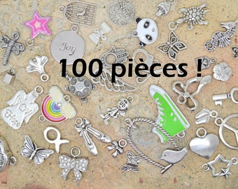 100 pendants or charms or connector, silver mix child assortment Pack