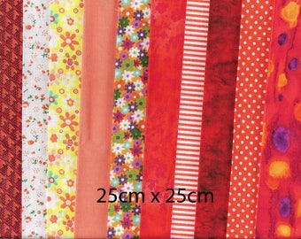 10 piece bundle of ORANGE patchwork cotton fabrics