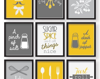 SET OF 9   Gray White Mustard Yellow Unique Kitchen Decor Poster Set,  Kitchen Wall