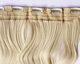 "23"" Platinum Blonde Hair Extension, One Piece Multi-Weft Clip in Extension, Clip On Hair Extension, Blonde Hair, Long Hair, Bunny Blonde"