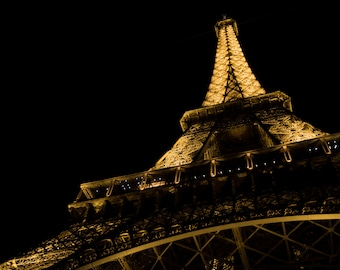 Below the Eiffel Tower - Photography, fine paper print, Paris, France, Colour, Night, Monument, Paris, France