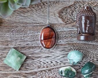 Red Tigers Eye Oval Necklace with Silver
