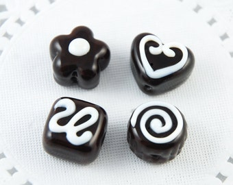 Chocolate Lampwork Beads in a Tin, Faux Candy Truffles, Valentines Day, SRA Handmade
