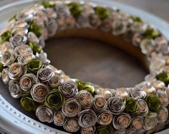 vintage book paper wreath