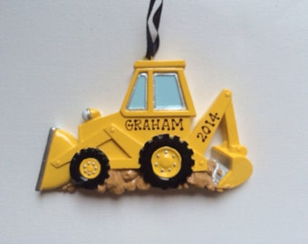 Bulldozer Personalized Christmas Ornament Back Hoe Shovel  Construction Truck - Birthday Gift/ Gift Tag