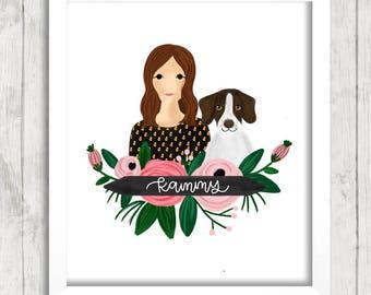 Custom Couple Portrait Illustration with Floral Banner | Couple Illustration | Gift Idea | Newlyweds | Wedding Gift