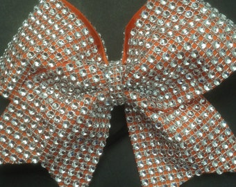 Rhinestones Orange Cheer Bow- orange cheer bow- Silver And Orange rhinestones cheer bow- competition cheer bow