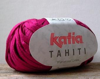 cotton ribbon tape yarn . 93yd 85m . Katia Tahiti Yarn raspberry 20 . magenta pink bulky mercerized cotton ribbon spring summer yarn
