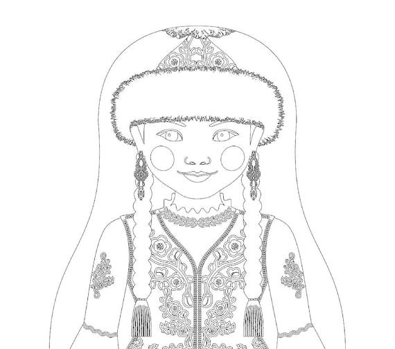 Kazakh Doll Traditional Dress Coloring Sheet Printable Matryoshka
