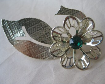 Flower Green Brooch Gold Rhinestone Vintage Pin