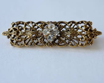 Brooch Gold Tone Open Work Filigree with Four Round Rhinestones Vintage Women's Jewelry