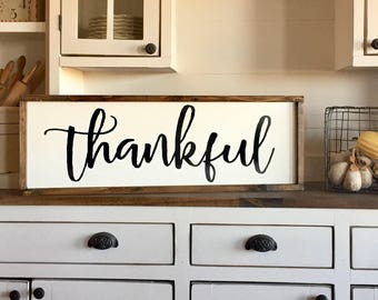 Large Wood Sign - Thankful - Thankful Sign - Thanksgiving - Fall - Home Decor - Kitchen - Family - Gift - Entryway - Custom Sign - Sign