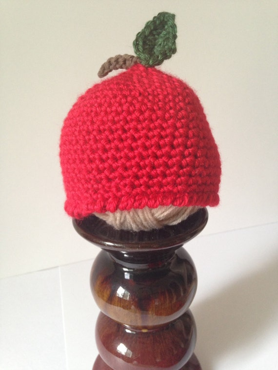 Apple baby beanie red apple baby hat crocheted apple beanie 65e6b04f381
