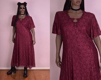 90s Floral Lace Maxi Dress/ US 20/ 1990s