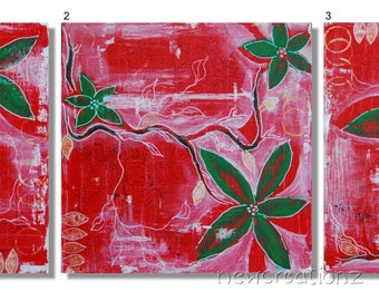 Red abstract painting, red contemporary art, red triptych print, green red flowers print, leaves wall art, modern red decor, red foliage art