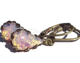 Vintage Fire Opal Crown Set Earrings, Vintage Wedding, Pear shaped Opal Earrings, Clip On Available