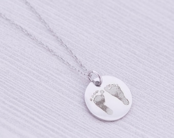 Actual Footprint Pendant - Kids Footprint or Handprint - Kids Drawing - Mommy Jewelry - Keepsake - Heirloom