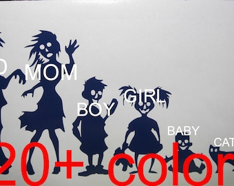 ZOMBIE Family Vinyl  Decal / Sticker *Available in 24 Colors* zombies