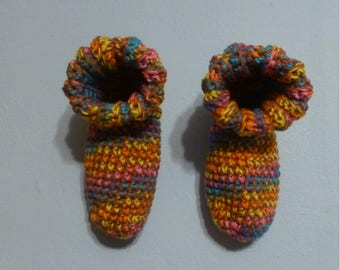 Crochet Slipper Bed Socks Booties Mixed Colors Size 9 10