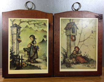 Hummel Prints on Wood- By the Lamppost