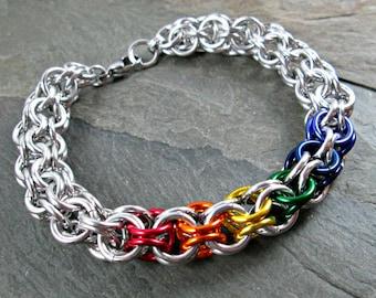 Rainbow Bracelet - Inverted Roundmaille - Rainbow Chainmaille - Chainmail Bracelet - Chainmaille Jewelry