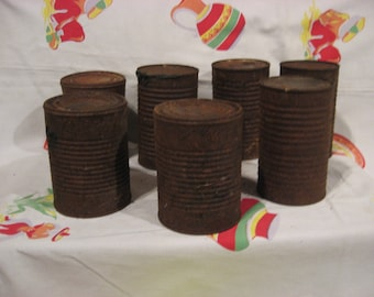 7 rusty cans, great for your art projects, smash, crunch, bend