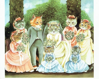 Susan Herbert Cats Getting Married Wedding Party, Fine Art Print, Book Page, Illustration, Wall Decor, Cat Lovers VC1