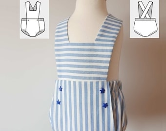 Baby Romper Pattern - Easy Romper Sewing Tutorial PDF 6 months to 3 years  - Toddler Overalls - Baby Boy Romper - Baby Girl Romper