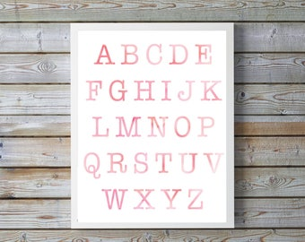 BLUSH,pink Nursery,ABC,Nursery Decor,Kids Wall Art,Nursery Print,Alphabet Poster,Watercolor,gift for girl,digital,bright,happy,digital print